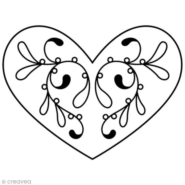 Tampon Bois Artemio - Coeur élégant - 4,5 x 3,7 cm - Photo n°1
