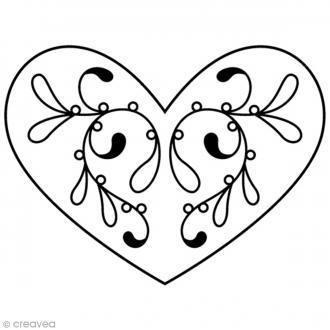 Tampon Bois Artemio - Coeur élégant - 4,5 x 3,7 cm