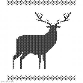 Tampon Bois Artemio - Frise et renne jacquard - 7 x 5,8 cm