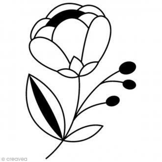 Tampon Bois Artemio - Fleur graphique - 2,7 x 3,5 cm
