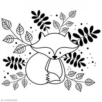 Tampon Bois Artemio - Renard feuille - 4 x 3,1 cm