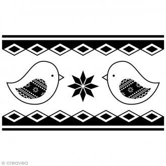 Tampon Bois Artemio - Frise oiseaux - 6,5 x 4 cm