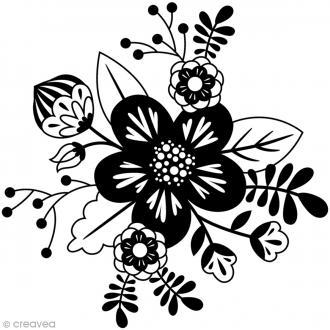 Tampon Bois Artemio - Fleur graphique - 7,2 x 7,4 cm