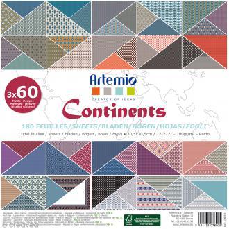 Papier scrapbooking Artemio - Continents - 30,5 x 30,5 cm - 180 feuilles