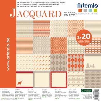 Papier scrapbooking Artemio - Jacquard - 30,5 x 30,5 cm - 40 feuilles