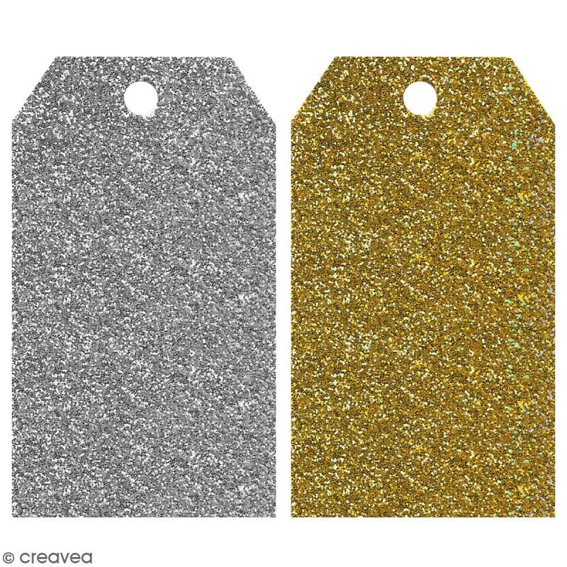 Etiquette cadeaux paillettes or et argent - 5 x 9 cm - 20 pcs - Photo n°1