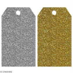 Etiquette cadeaux paillettes or et argent - 5 x 9 cm - 20 pcs