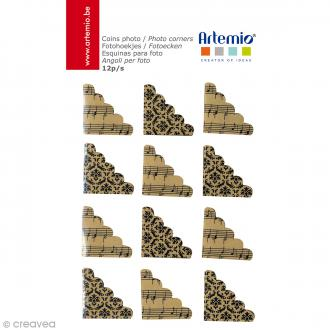 Coins photos adhésifs - Kraft imprimé - 12 pcs