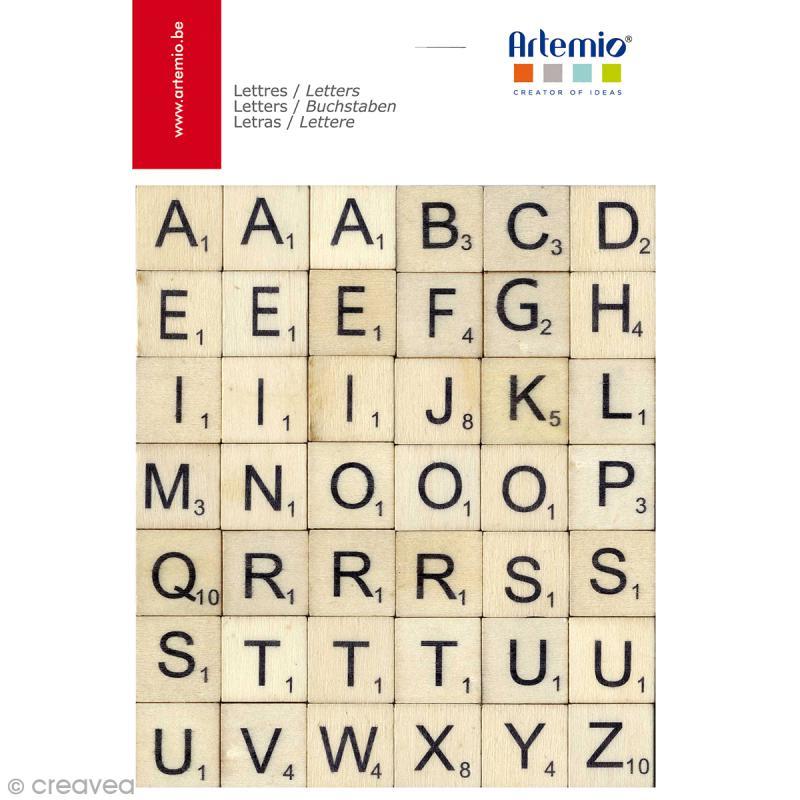 Alphabet scrabble en bois 2 x 2 cm - 42 pcs - Photo n°1