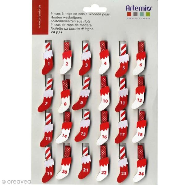 Pince à linge Calendrier de l'avent chaussette - 24 pcs - Photo n°1