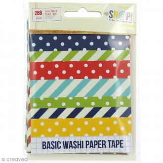 Autocollants washi tape Simple Stories - SNAP life documented - Pois, rayures - 288 pcs