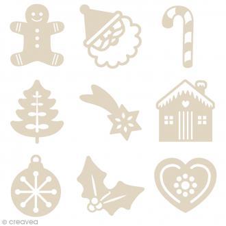 Set de mini silhouettes en bois - Noël  - 27 pcs
