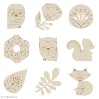 Set de mini silhouette en bois - Grafic - 27 pcs