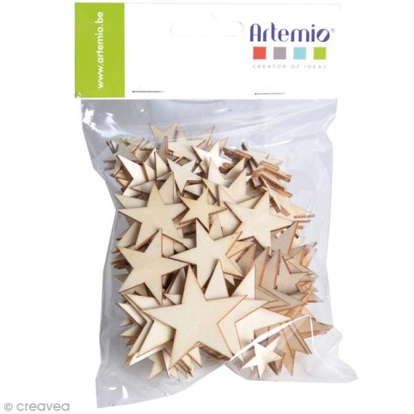 Étoiles en bois à décorer - Assortiment de 129 pcs - Photo n°1