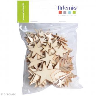 Étoiles en bois à décorer - Assortiment de 129 pcs