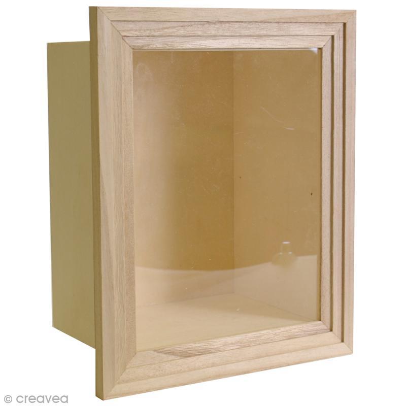 vitrine en bois d corer 28 5 x 23 5 cm vitrine. Black Bedroom Furniture Sets. Home Design Ideas