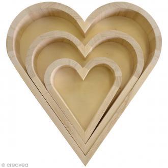 Plateaux Coeurs à décorer - 20 cm - 15,5 cm - 9,5 cm - 3 pcs