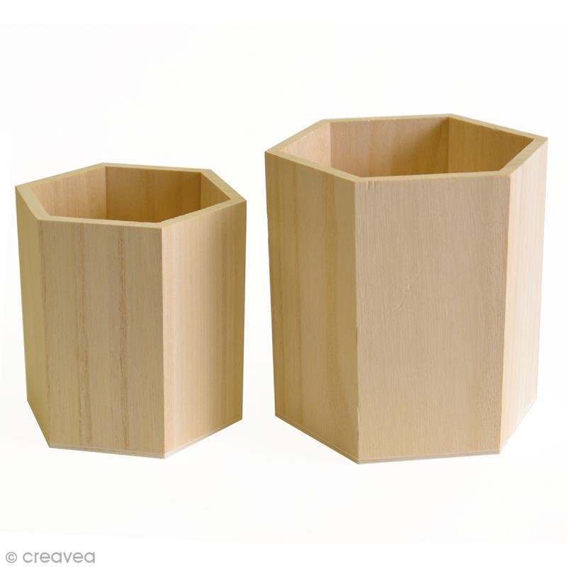 Pots Hexagonaux à décorer- 10 cm - 8 cm - 2 pcs - Photo n°1