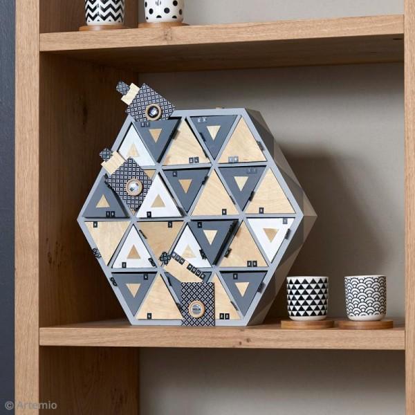 Calendrier de l'Avent en bois à décorer - Hexagone - 36,5 cm - Photo n°2