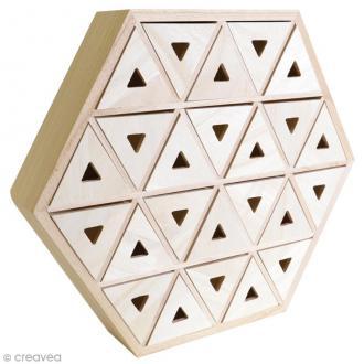 Calendrier de l'Avent en bois à décorer - Hexagone - 36,5 cm