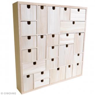 Calendrier de l'Avent en bois à décorer - Géométrique - 40 x 40 cm