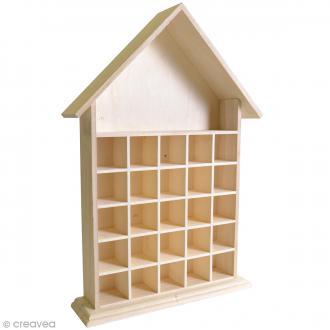 Calendrier de l'Avent en bois à décorer - Maison ouverte - 50 cm