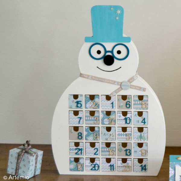 Calendrier de l'Avent en bois à décorer - Bonhomme de neige - 41 x 32 cm - Photo n°2
