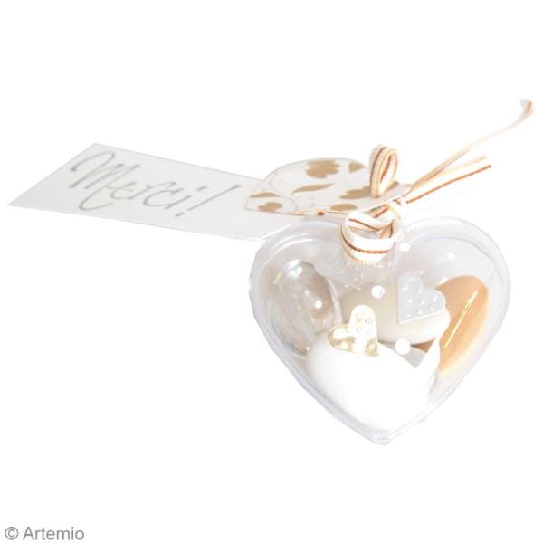 Assortiment de Coeurs  en plastique transparent - 6 pcs - 6 cm - Photo n°2