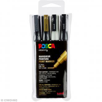 Marqueur Posca Or, Argent, Noir & Blanc - Pointe Conique fine 0,9 à 1,3 mm - 4 pcs