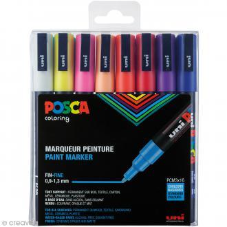 Marqueur Posca Basique - Pointe Conique fine 0,9 à 1,3 mm - 16 pcs
