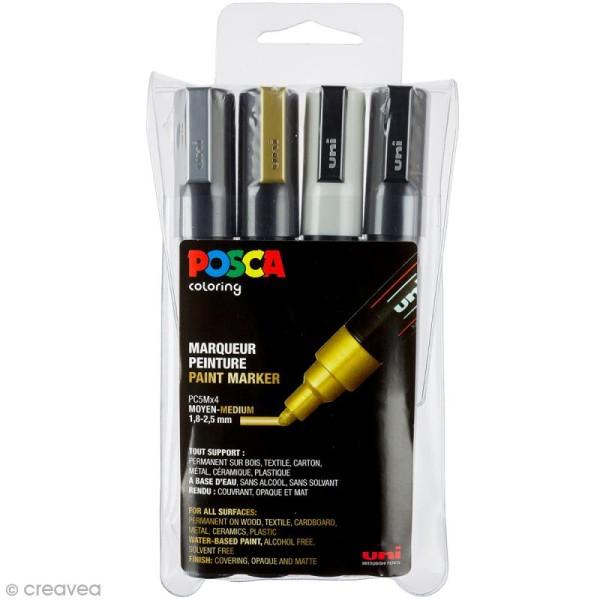 Coffret de feutres Posca PC-5M - Pointe Conique moyenne - Or, Argent, Noir & Blanc - 4 pcs - Photo n°1