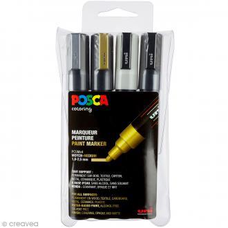 Marqueur Posca Or, Argent, Noir & Blanc - Pointe Conique moyenne 1,8 à 2,5 mm - 4 pcs