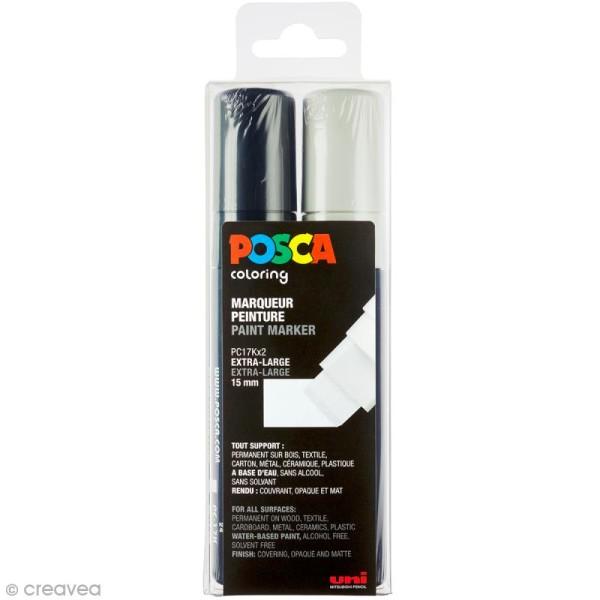Marqueur Posca Noir & Blanc - Pointe Rectangulaire extra large 15 mm - 2 pcs - Photo n°1