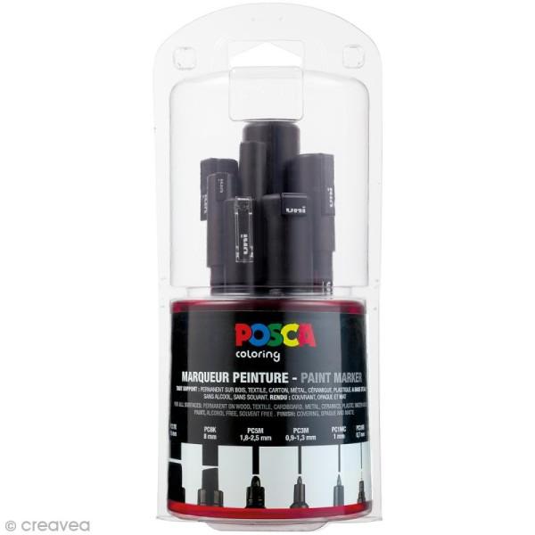 Marqueur Posca Noir - Pointe Multi pointe 0,7 à 15 mm - 7 pcs - Photo n°1