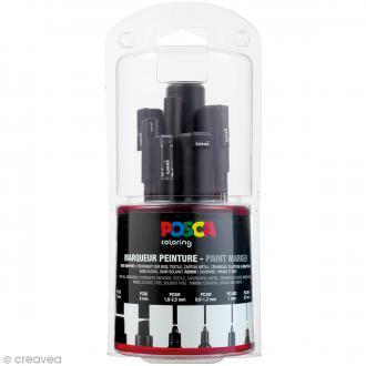 Marqueur Posca Noir - Pointe Multi pointe 0,7 à 15 mm - 7 pcs