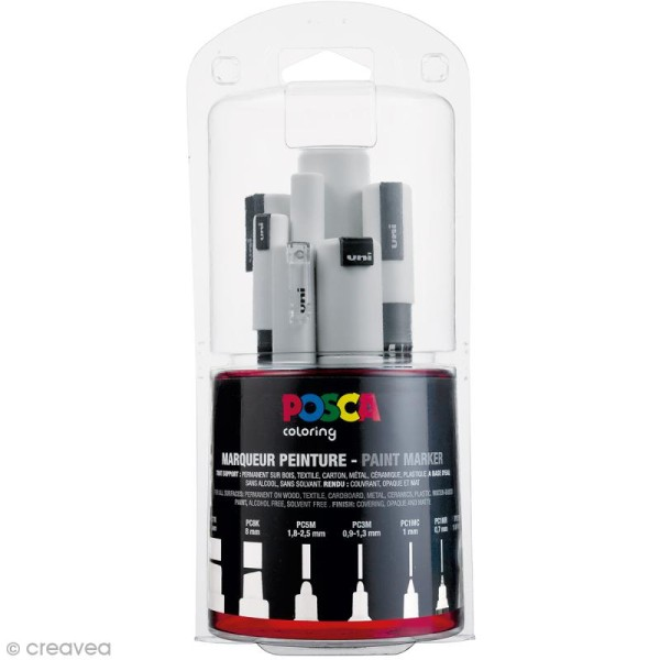 Marqueur Posca Blanc - Pointe Multi pointe 0,7 à 15 mm - 7 pcs - Photo n°1