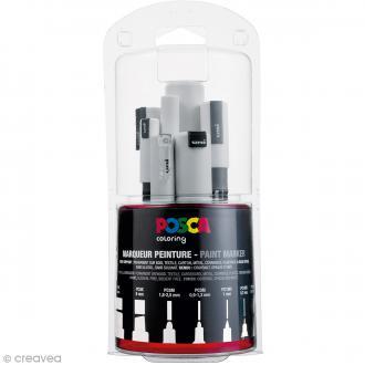 Marqueur Posca Blanc - Pointe Multi pointe 0,7 à 15 mm - 7 pcs