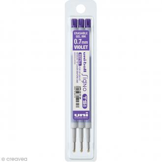 Recharge Encre effaçable Stylo UniBall Signo TSI - Violet - 0,7 mm - 3 pcs