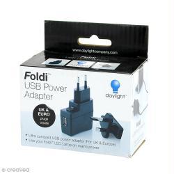 Adaptateur secteur et USB pour lampe led Foldi - Compatible UK et Europe