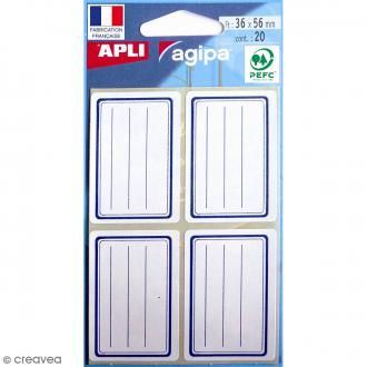 Etiquettes scolaires adhésives à lignes - Bleu - 36 x 56 mm - 20 pcs