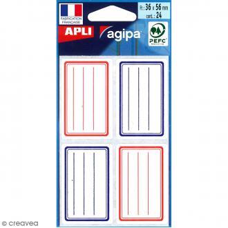 Etiquettes scolaires adhésives à lignes - Rouge et bleu - 36 x 56 mm - 24 pcs