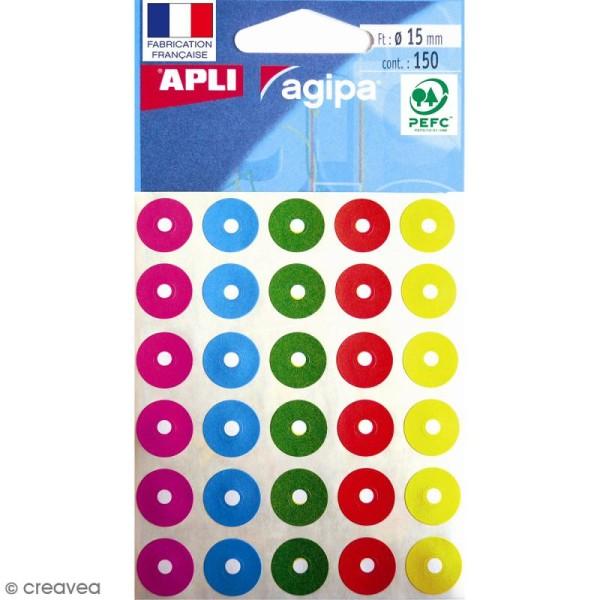 Oeillets autocollants colorés - 15 mm - 150 pcs - Photo n°1