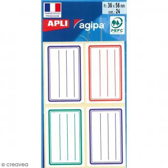 Etiquettes scolaires adhésives à lignes - Rouge, bleu et vert - 36 x 56 mm - 24 pcs