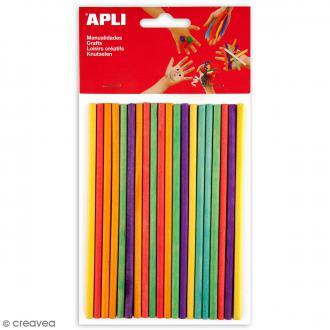Pics à bout plat en bois Apli - Multicolores - 5 mm x 15 cm - 25 pcs