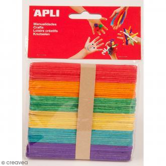 Bâtonnets en bois - Multicolores - 115 x 10 mm - 50 pcs