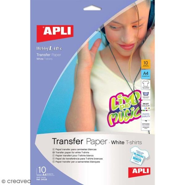 Papier transfert textile Apli - Spécial tee-shirt blanc - 21 x 29,7 cm - 10 pcs - Photo n°1