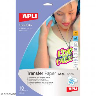 Papier transfert textile Apli - Spécial tee-shirt blanc - 21 x 29,7 cm - 10 pcs