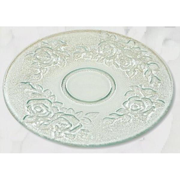 Assiette en verre estampée roses à décorer Ø 22,7 cm - Photo n°1