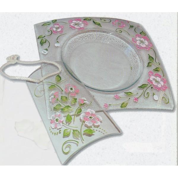 Assiette en verre carrée Fantaisie à décorer 26,8x26,8 cm Ø 18 cm - Photo n°2