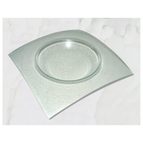 Assiette en verre carrée Fantaisie à décorer 26,8x26,8 cm Ø 18 cm - Photo n°1